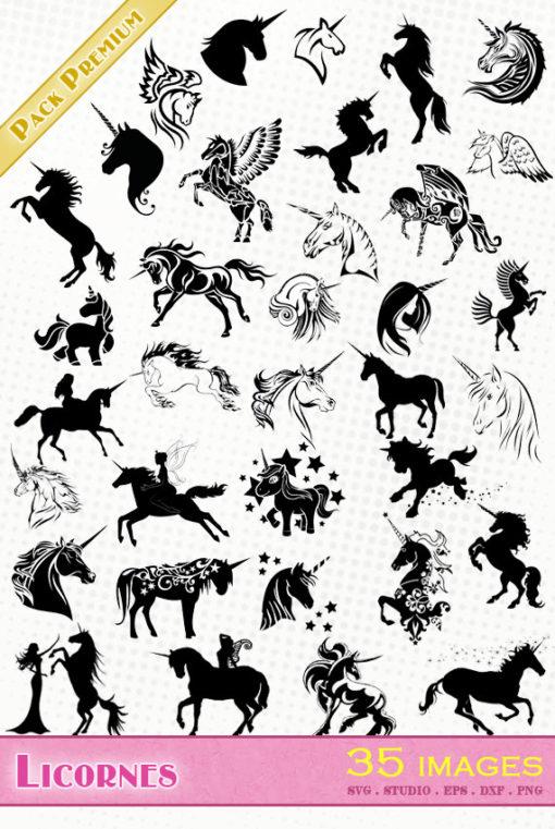 licorne unicorn silhouette svg eps dxf studio cameo portrait cricut scanncut vector file die cutting