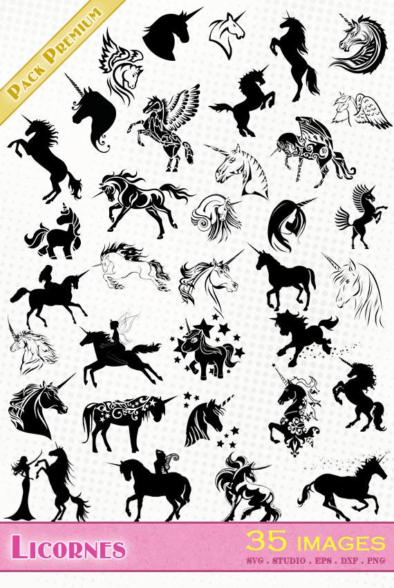 Licornes – 35 images svg/studio/png/dxf/eps