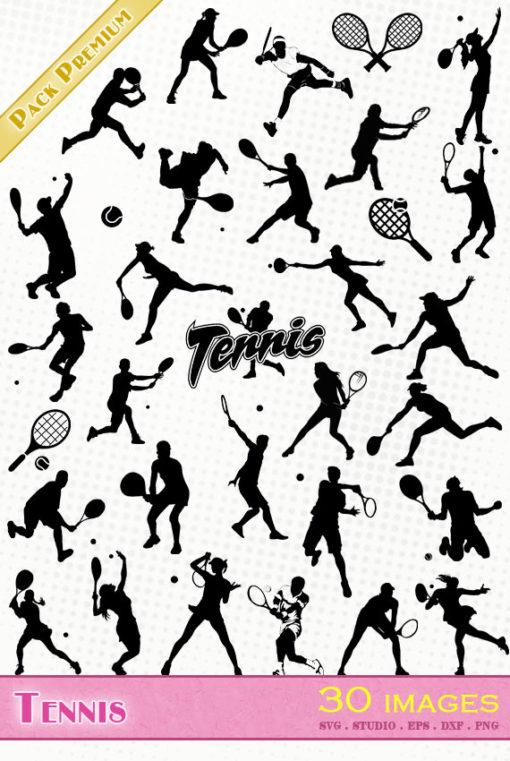 tennis tennisman tenniswoman raquette balle smash ball silhouette svg eps dxf studio cameo portrait cricut scanncut vector file die cutting