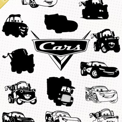 cars flash mcqueen lightning disney pixar svg silhouette studio eps dxf cutting files