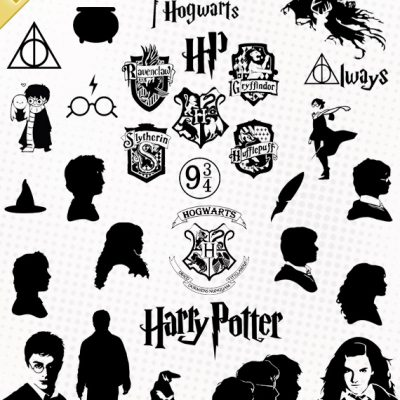 harry potter svg vector cutting files ron hermione poudlard hogwarts stickers silhouette cameo eps dxf scanncut