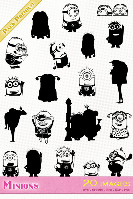 minions moi moche et méchant silhouette vector die cutting files svg eps dxf minion