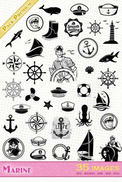 marine marin bateau voile ancre capitaine svg eps dxf silhouette studio cameo portrait vector files die cutting fichiers