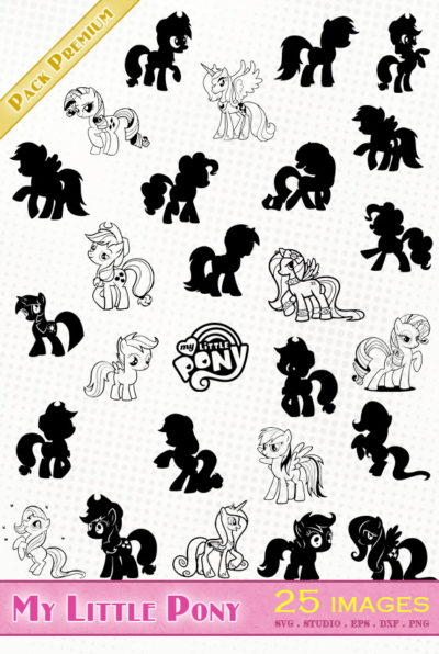 My Little Pony svg files eps dxf silhouette studio die cutting fichiers cameo portrait Twilight Sparkle Fluttershy Pinkie Pie Rarity,