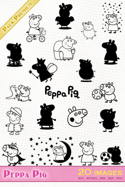 peppa pig georges svg vector cutting files ron hermione poudlard hogwarts stickers silhouette cameo eps dxf scanncut