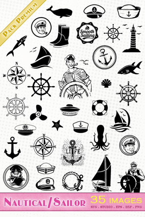 sailor boat nautical svg files die cutting vector silhouette clipart eps dxf png sst