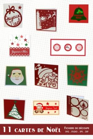 11 cartes de Noël – svg/studio/dxf/eps