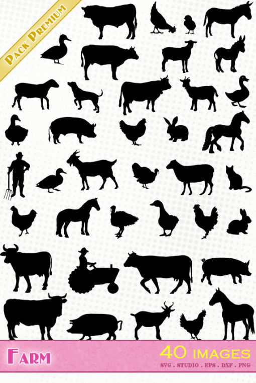 farm animals svg silhouette studio cameo portrait vector files cow sheep pig goat horse donkey