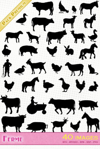 animaux ferme farm animals svg silhouette studio cameo portrait scanncut cricut vector files fichiers cochon vache tracteur fermier poule canard