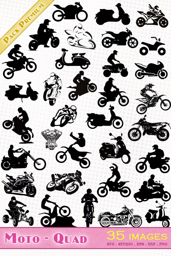 Motos, Quads, Scooters – 35 images svg/studio/png/dxf/eps