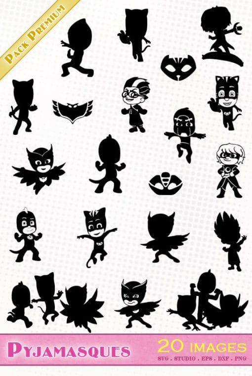 pyjamasques svg file silhouette studio eps dxf bibou gluglu yoyo pjmask pj masks