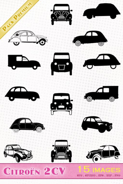 citroen 2cv deuche voiture ancienne svg silhouette studio dxf eps png vector file old car cameo cricut portrait tin snail ente