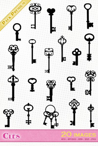 clé ancienne clés svg silhouette dxf eps studio cameo portrait cricut scanncut serrure cadenas vector file