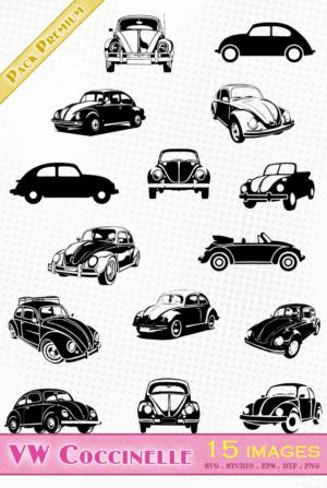 Volkswagen Coccinelle / Beetle – 15 images svg/studio/png/dxf/eps