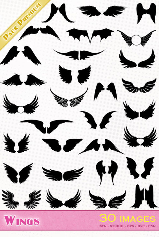wings angel bat bird scrapbooking die cutting vector files svg silhouette studio cameo portrait cricut scanncut dxf eps