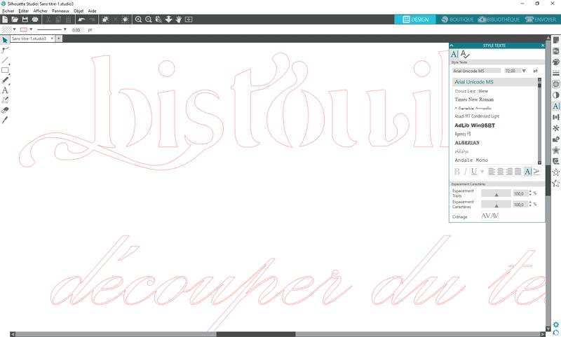 tuto decouper texte script police cursive silhouette studio cameo portrait