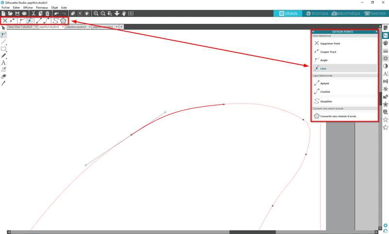 tuto silhouette studio éditer points tracé vectoriel vectorisation