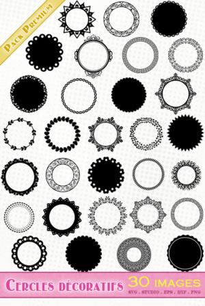 Cercles décoratifs et festonnés – 30 images svg/studio/png/dxf/eps