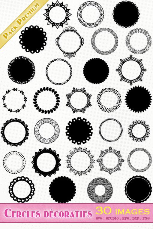 cercle festonné décoratif scapbooking fichier vectoriel silhouette studio svg cameo portrait cricut scanncut
