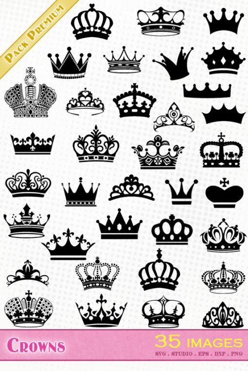 crown diadem silhouette studio portrait cameo fichier scanncut cricut studio svg eps dxf png