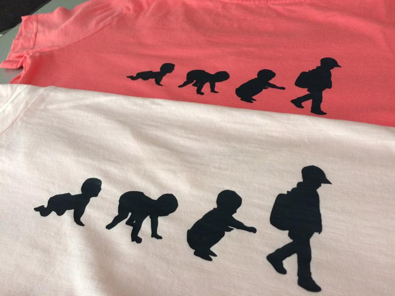 t-shirt évolution enfant homme bébé flex