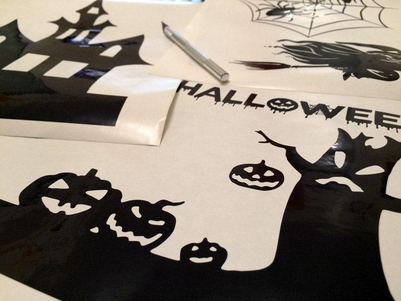 stickers muraux halloween sorcière citrouille araignée