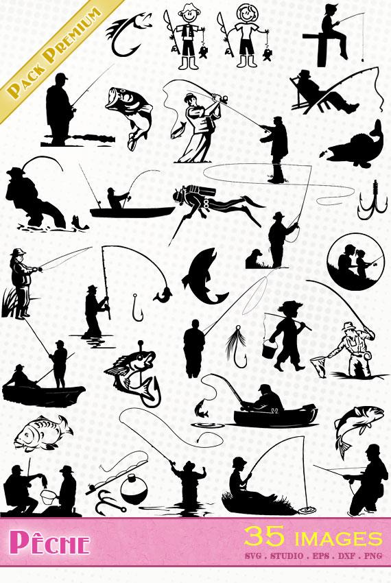 Pêche – 35 images svg/studio/png/dxf/eps