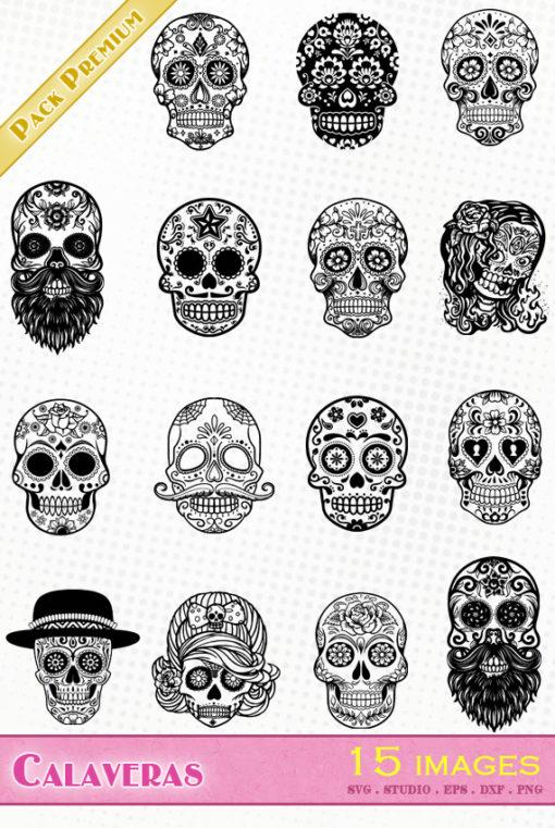 calavera tête de mort mexicaine fête jour des morts svg eps dxf silhouette studio fichiers