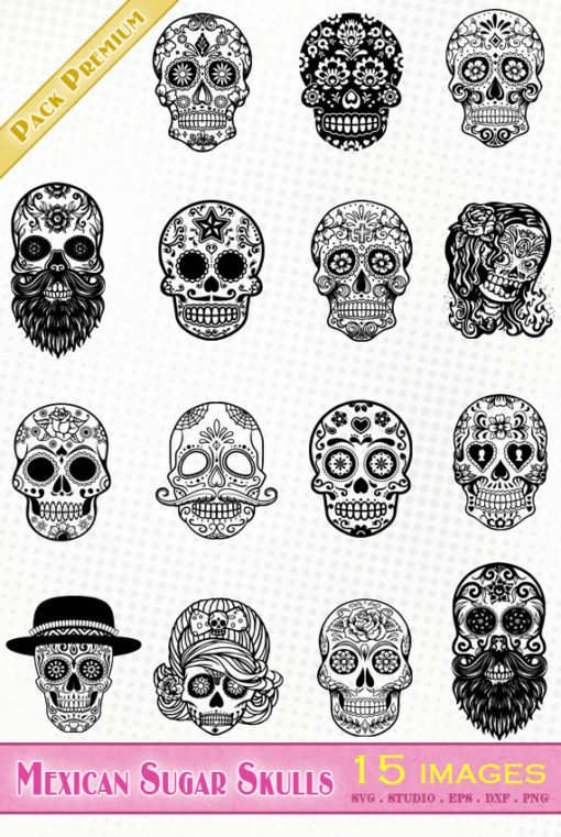 mexican sugar skull dead flower svg eps dxf silhouette studio vector file