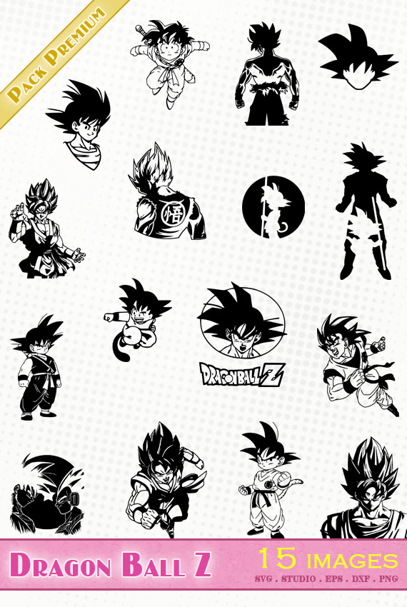 Dragon Ball Z – 15 images svg/studio/png/dxf/eps