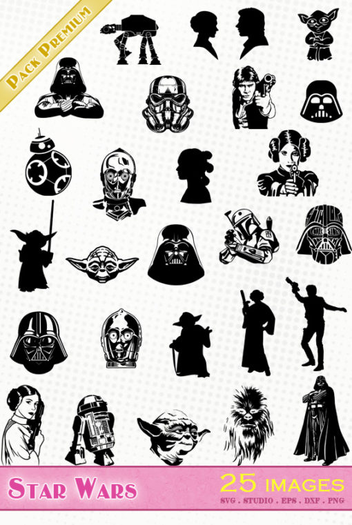 star wars svg eps dxf png silhouette vector file fichier darth vader skywalker yoda chewbaca