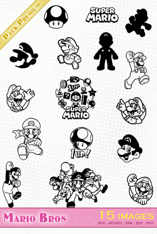 super mario bros nintendo bross svg eps dxf png silhouette file fichier