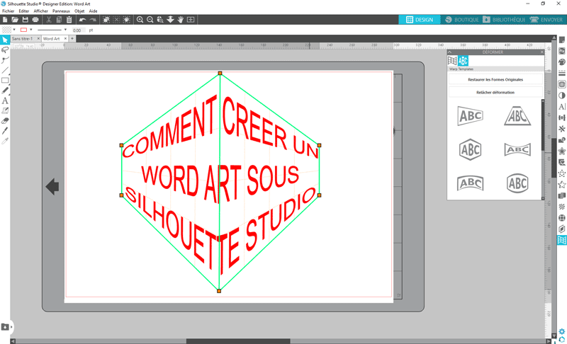 tuto silhouette studio écrire texte word art