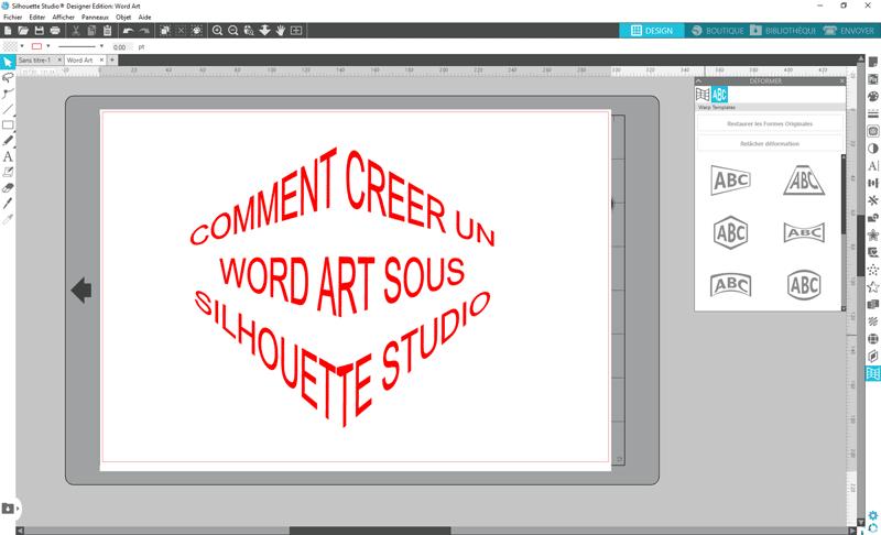 tuto silhouette studio écrire texte wordart