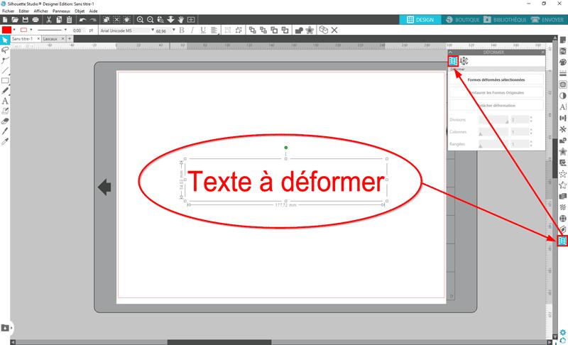 tuto silhouette studio déformer librement texte étirer