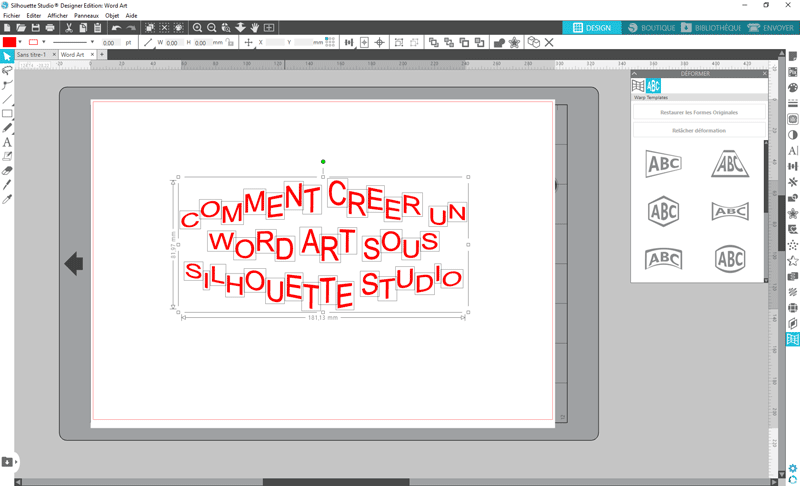 tuto silhouette studio word art relâcher déformation