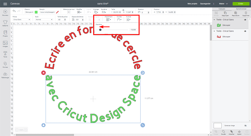 tuto design space cricut maker explore écrire rond cercle arrondi