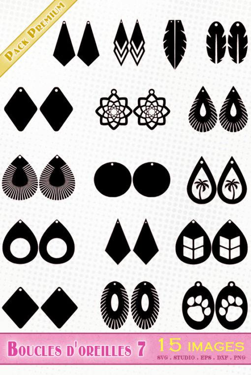 boucles d'oreilles fichiers svg eps dxf silhouette studio png
