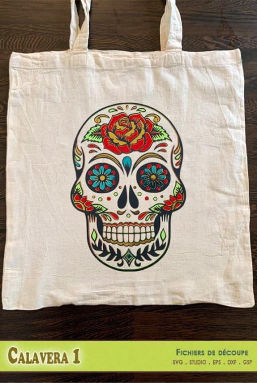calavera dia de los muertos crane tête de mort calques couleurs multicolore Sugar Skull Layered fichiers découpe svg dxf eps silhouette studio png gsp