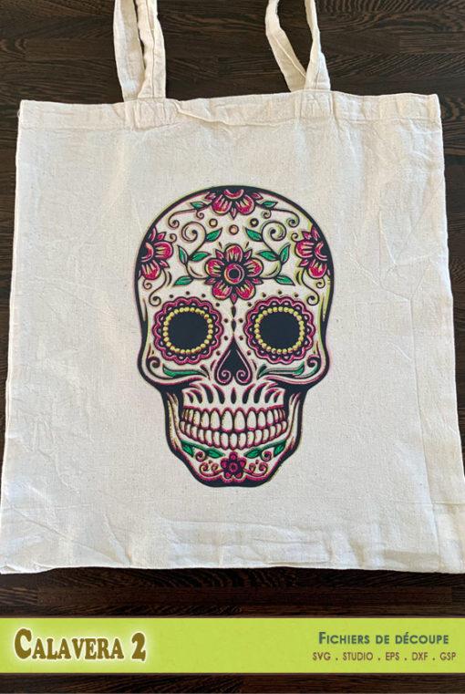 calaveras dia de los muertos tête de mort coco calques couleurs multicolore Sugar Skull fichiers découpe svg dxf eps silhouette studio png gsp calques