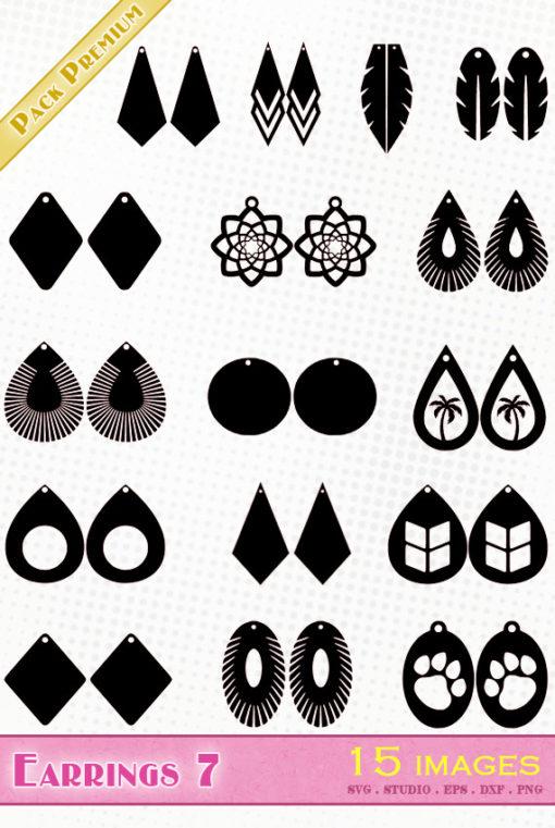 earrings svg file eps dxf silhouette studio png jewel diy