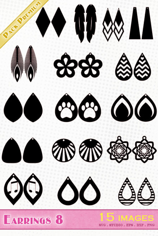 earrings svg file eps dxf silhouette studio png jewel diy