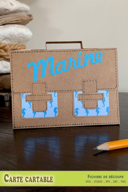 carte cartable scrapbooking svg dxf eps silhouette studio png école cadeau maîtresse