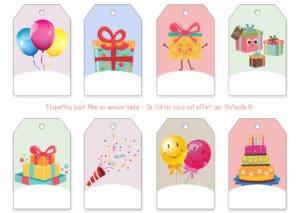 etiquettes cadeau à imprimer fête anniversaire gift tag label print
