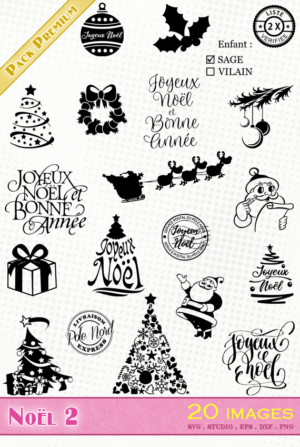 Noël et Nouvel An – 20 images svg/studio/png/dxf/eps