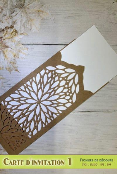 carte invitation enveloppe mariage anniversaire noël repas menu dentelle svg eps dxf png pdf silhouette studio card envelope