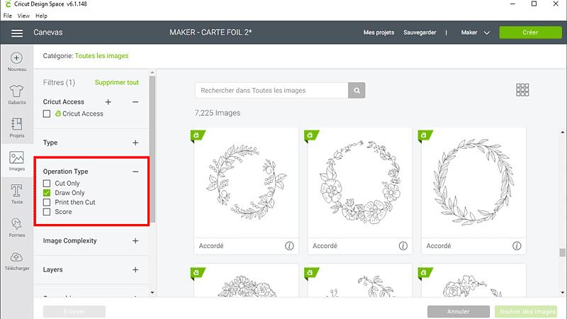 cricut design space insérer image dessin foil