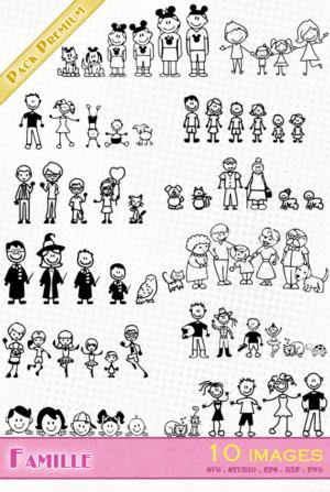 Famille – 10 images svg/studio/png/dxf/eps