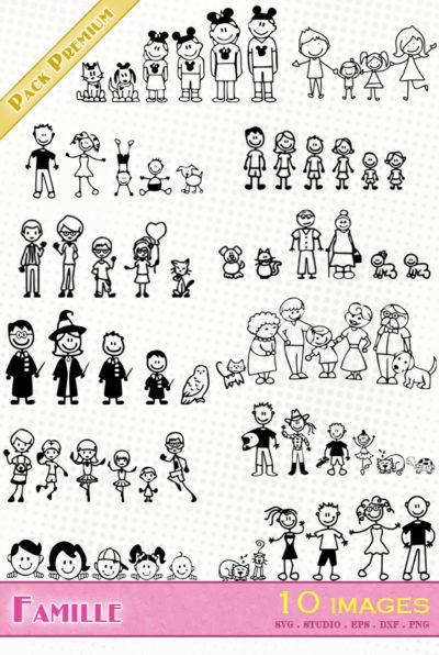 famille dessin sticker fichier svg eps dxf silhouette studio png harry potter motard mickey chien animal chat grands parents boite aux lettres