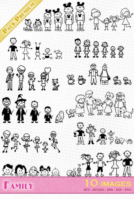 family sketch drawing svg eps dxf silhouette studio file animal dog cat super hero cricut brother